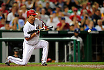 21 August 2009: Washington Nationals' pitcher J.D. Martin sets to bunt in the 5th inning against the Milwaukee Brewers at Nationals Park in Washington, DC. The Nationals fell to the Brewers 7-3, in the first game of their four-game series. Mandatory Credit: Ed Wolfstein Photo