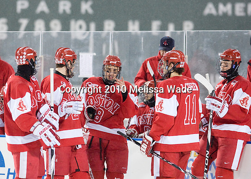 Max Nicastro (BU - 7), Colby Cohen (BU - 25), Wade Megan (BU - 18), Zach Cohen (BU - 11), Alex Chiasson (BU - 9) - The Boston University Terriers defeated the Boston College Eagles 3-2 on Friday, January 8, 2010, at Fenway Park in Boston, Massachusetts, as part of the Sun Life Frozen Fenway doubleheader.