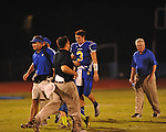 Oxford High's Parker Adamson (3) walks off the field at the half after taking a hard hit vs. New Hope in high school football in Oxford, Miss. on Friday, September 28, 2012. Oxford won 29-17 to improve to 6-0.
