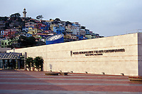 The Museo Antropologico y de Arte Contemporanio or MAAC in Guayaquil, Ecuador. Cerro Santa Ana and the restored Las Penas historic district is in the background.