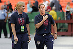 10 May 2008: United States assistant coach Jillian Ellis (l) and assistant coach Erica Walsh (r). The United States Women's National Team defeated the Canada Women's National Team 6-0 at RFK Stadium in Washington, DC in a women's international friendly soccer match.