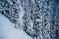 Ski Logik athlete Willie Schneider in the deep and dark of the North Bowl at Revelstoke Mountain Resort.