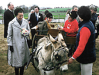 Princess Royal, Princess Anne, at a Riding for the Disabled event in Co Fermanagh during a royal visit to N Ireland, May 1985. 19850503f..Copyright Image from Victor Patterson, 54 Dorchester Park, Belfast, UK, BT9 6RJ..Tel: +44 28 9066 1296.Mob: +44 7802 353836.Voicemail +44 20 8816 7153.Skype: victorpattersonbelfast.Email: victorpatterson@me.com.Email: victorpatterson@ireland.com (back-up)..IMPORTANT: If you wish to use this image or any other of my images please go to www.victorpatterson.com and click on the Terms & Conditions. Then contact me by email or phone with the reference number(s) of the image(s) concerned.