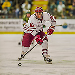 24 November 2013: University of Massachusetts Minutemen Forward Steven Iacobellis, a Freshman from Pt Coquitlam, British Columbia, in action against the University of Vermont Catamounts at Gutterson Fieldhouse in Burlington, Vermont. The Cats shut out the Minutemen 2-0 to sweep the 2-game home-and-away weekend Hockey East Series. Mandatory Credit: Ed Wolfstein Photo *** RAW (NEF) Image File Available ***