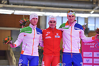 SCHAATSEN: BERLIJN: Sportforum, 06-12-2013, Essent ISU World Cup, podium 1500m Men DivisionB, Jan Blokhuijsen (NED), Jan Szymanski (POL), Thomas Krol (NED), ©foto Martin de Jong