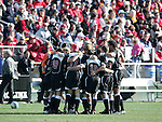 New Mexico's starters huddle up before the game. The University of Maryland Terrapins defeated the University of New Mexico Lobos 1-0 in the Men's College Cup Championship game at SAS Stadium in Cary, NC, Friday, December 11, 2005.