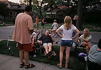 Neighbors gather at a street party in Riverside neighborhood.  Frederick Law Olmsted made the first suburban plan outside of Chicago.