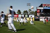 The 2010 Carolina Mudcats during a practice at Five County Stadium in Zebulon, North Carolina, April 6, 2010.
