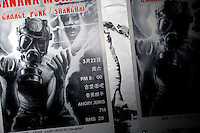 Posters announce a concert by the Shanghai punk band Banana Monkey in Nanjing, China.