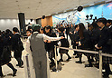 May 22, 2012, Tokyo, Japan - Visitors wait in line for admission to the Tokyo Skytree, the worlds tallest self-standing terrestrial broadcast tower at 634 meters, which opens to the public in downtown Tokyo on Tuesday, May 22, 2012...Despite the foul weather, some 8,000 visitors turned out on the first day to see the limited but 360-degree views of the nations capital from two observation decks. On the opening day alone, the operator expected about 200,000 visitors to Tokyo Skytree Town commercial complex, which consists of the tower, a 312-tenant shopping and restaurant zone called &quot;Tokyo Solamachi,&quot; an office building zone, an aquarium and a planetarium. (Photo by Natsuki Sakai/AFLO) AYF -mis-.
