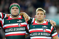 Marcos Ayerza and Tom Youngs of Leicester Tigers look on during a minute silence in honour of the late Anthony Foley. Lachlan McCaffrey, Ed Slater and Marcos Ayerza of Leicester Tigers line up for a minute silence in honour of the late Anthony Foley. European Rugby Champions Cup match, between Leicester Tigers and Racing 92 on October 23, 2016 at Welford Road in Leicester, England. Photo by: Patrick Khachfe / JMP
