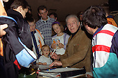Sir stanley Matthews signing autographs in The Tangerine Nitespot.<br /> 13/10/1991 Sunday fixture v Lincoln City?