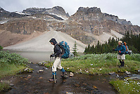 The Highline trail, Alberta and British Columbia, Canada, August 2008. Gibbon pass is the first hurdle to cross to shadow lake campsite. The Banff Highline trail can be hiked in 7 days and runs through Banff National park as well as Assiniboine Provincial park. Photo by Frits Meyst/Adventure4ever.com
