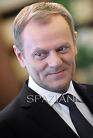 Pope Francis during a meeting with Prime Minister of Poland, Donald Tusk during a private audience at the Vatican on May 19, 2014.