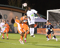 Josh Gardner #6 Of the Carolina Railhawks loses a header to Alexis Rivera #6 of the Puerto Rico Islanders during the second leg of the USSF-D2 championship match at WakeMed Soccer Park, in Cary, North Carolina on October 30 2010. The game ended 1-1, Puerto Rico won on overall goals 3-1.