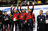2008 World Cup Short Track - Vancouver - US Speedskating Team members Charles Ryan Leveille, Apolo Anton Ohno, Jeff Simon, JR Celski, Travis Jayner, and Anthoney Lobello celebrate their Gold medal performance during the 5000m Men's Relay A Final Awards Ceremony.