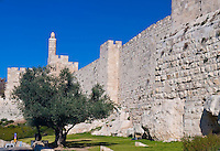 The wall of old Jerusalem in Israel