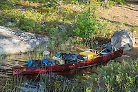 This is my 18.5 Souris River Canoe fully loaded on the way to may next base camp. On average I would base camp for three days, explore the area within reach, then pack camp and move on. I would like to say: I love my Souris canoe, very stable, tough, graceful, and light.
