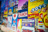 Candy packaging decorates the windows of Economy Candy on Rivington Street in the Lower East Side neighborhood of New York on Saturday, May 26, 2012. Founded in 1937 the family owned business sells an assortment of candy, nostalgic, contemporary and bulk.  (© Richard B. Levine)