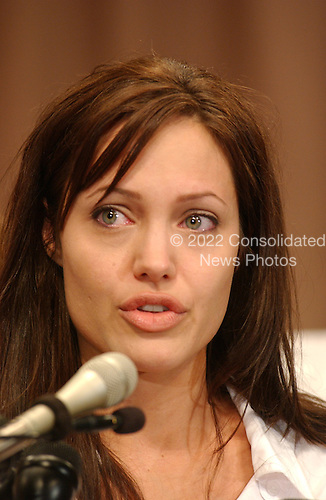 Washington, DC - June 19, 2003 -- Actress Angelina Jolie, United Nations High Commission on Refugees (UNHCR) Goodwill Ambassador, appears at a press conference on Capitol Hill to talk about World Refugee Day..Credit: Ron Sachs / CNP