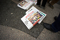 Cipoes of the Occupied Wall Street Journal are seen at a rally in Union Square Park in New York on Wednesday, April 25, 2012.  (© Richard B. Levine)