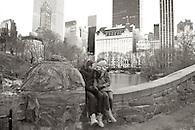 Engagement portrait on bridge in Central Park