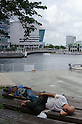 September 17th, 2011 : Yokohama, Japan - People enjoy the nice weather by napping at a park near the Yokohama Port. (Photo by Yumeto Yamazaki/AFLO)
