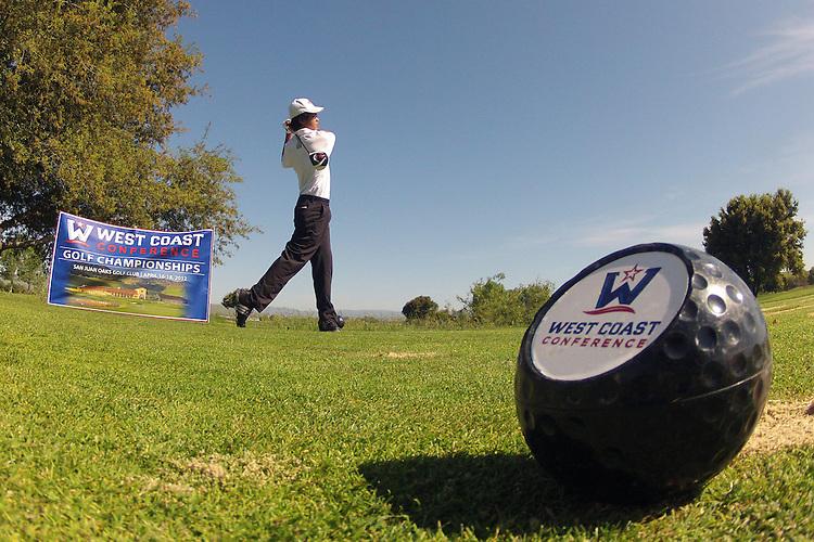 April 17, 2012; Hollister, CA, USA; Saint Mary's Gaels golfer Jonathan De Los Reyes during the WCC Golf Championships at San Juan Oaks Golf Club.