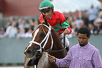 HOT SPRINGS, AR - March 18: Malagacy #6 and jockey Javier Castellano after winning the Rebel Stakes at Oaklawn Park on March 18, 2017 in Hot Springs, AR. (Photo by Ciara Bowen/Eclipse Sportswire/Getty Images)