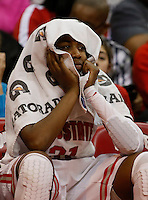Ohio State Buckeyes guard Raven Ferguson (31) watches the final moments of their loss 64 to 52 loss to Bowling Green at Value City Arena in Columbus Nov. 24, 2013.