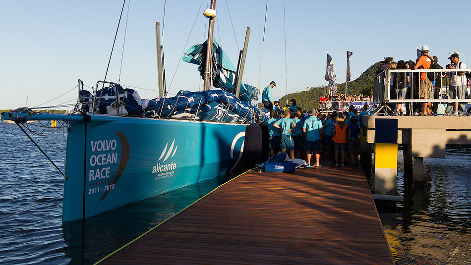 BRAZIL, Itajai. 6th April 2012. Volvo Ocean Race. Team Telefonica arrive on the dock in Itajai.