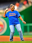 23 April 2010: Rhonda Hamilton throws out the ceremonial first pitch prior to a game between the Washington Nationals and the Los Angeles Dodgers at Nationals Park in Washington, DC. The Nationals defeated the Dodgers 5-1 in the first game of their 3-game series. Mandatory Credit: Ed Wolfstein Photo
