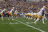 The Notre Dame football team lines up in an offense formation with DeShone Kizer at quarterbac. The Notre Dame Fighting Irish football team defeated the Pitt Panthers 42-30 on Saturday, November 7, 2015 at Heinz Field, Pittsburgh, Pennsylvania.