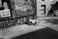 Homeless man. Street scenes, manhattan, New York, USA