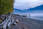 Idaho, North, Sandpoint. Lake Pend Oreille steaming in the pre-dawn light.