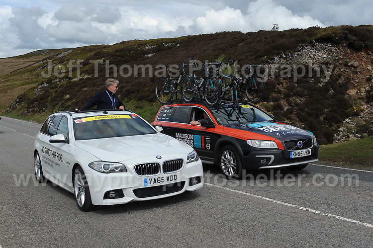 PRO team cyclists near the top of the challenging iconic and notorious 6km 10% stretch of road namely The Tumble during the Wales Velothon 2016 140km route cycling race. Replacement cycles and a course control car. <br /> <br /> <br /> Jeff Thomas Photography -  www.jaypics.photoshelter.com - <br /> e-mail swansea1001@hotmail.co.uk -<br /> Mob: 07837 386244 -