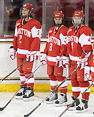 Britt Hergesheimer (BU - 2), Kasey Boucher (BU - 3), Kathryn Miller (BU - 4) - The Boston College Eagles defeated the Boston University Terriers 2-1 in the opening round of the Beanpot on Tuesday, February 8, 2011, at Conte Forum in Chestnut Hill, Massachusetts.