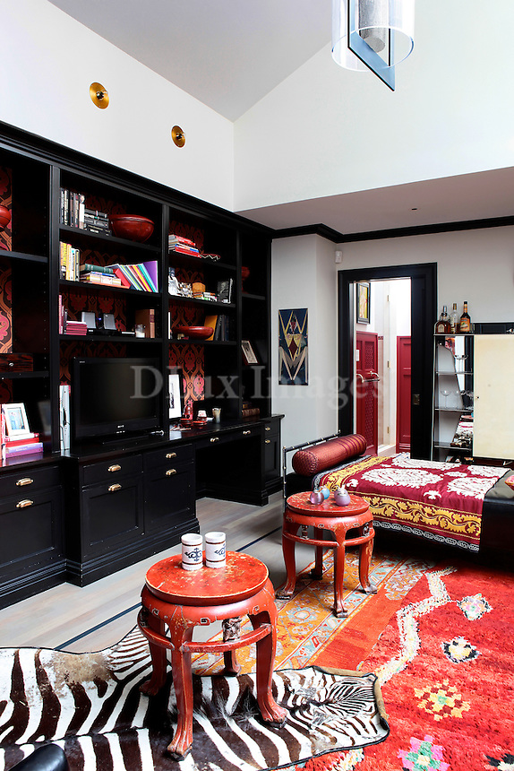 wooden black bookcase in the living room
