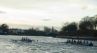 Putney, London.  Pre Varsity Boat race fixture. Cambridge move ahead, as they approach the Finish, Cambridge UBC.[Blue Boat] vs GBR U23 crew raced over parts of the Championship Course, [Putney to Mortlake].  Race divided into two trials. 1. Start to Hammersmith Pier. 2. Chiswick Eyot to Finish. River Thames. Saturday   26/02/2011 [Mandatory Credit -Karon Phillips/Intersport Images]..Crews:.CAMBRIDGE [Blue Boat] Bow,  Mike THORP, Joel JENNINGS,  Dan RIX-STANDING,  Hardy CUBASCH,  George NASH,  Geoff ROTH , Derek RASMUSSEN, Stroke David NELSON and Cox Tom FIELDMAN..GB Under-23s Bow, Oliver STAITE, Jack CADMAN,  Alex TORBICA, Alex DAVIDSON, Matt TARRANT, Ertan HAZINE,  Mason DURANT,  Stroke Scott DURANT and Cox Max GANDER ..