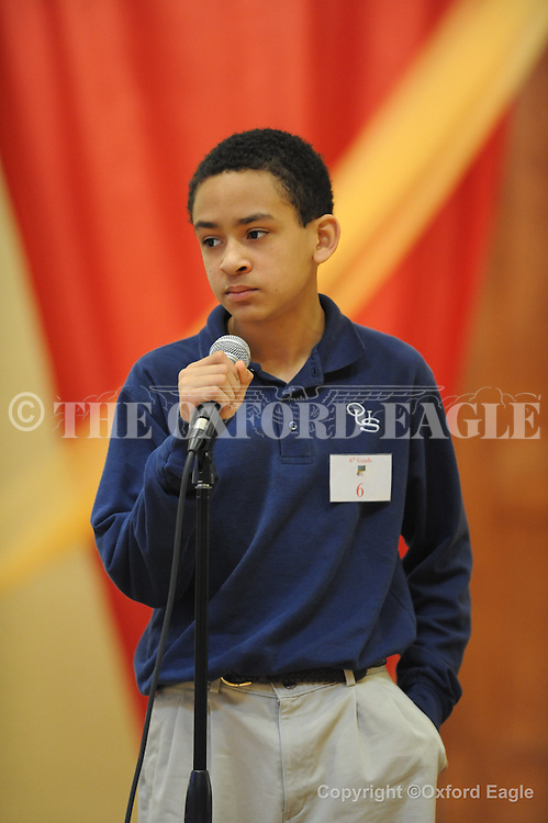 Oxford-University School sixth grader Ashton Graham in The Mississippi Association of Independent Schools District I East Spelling Bee at the Oxford University United Methodist Church's Activity Center on Thursday, February 19, 2010. Schools participating are Kirk Academy, Marshall Academy, Magnolia Heights, North Delta, Regents, and Oxford University School.