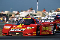 DAYTONA BEACH, FL - FEBRUARY 3: The MOMO Corse Alba/Momo AR5 005/Ford of Gianpiero Moretti, Massimo Sigala and Jim Trueman is driven during the 24 Hours of Daytona IMSA GT race at the Daytona International Speedway in Daytona Beach, Florida, on February 3, 1985.