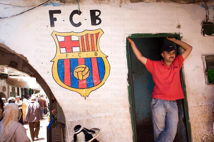 FC Barcelona badge painted on a wall of the medina, Tetouan, Morocco
