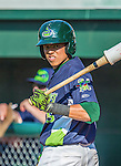 29 June 2014:  Vermont Lake Monsters infielder Yairo Munoz on deck against the Lowell Spinners at Centennial Field in Burlington, Vermont. The Lake Monsters fell to the Spinners 7-5 in NY Penn League action. Mandatory Credit: Ed Wolfstein Photo *** RAW Image File Available ****