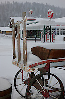 """Snowy Wagon in Downtown Truckee"" - This snow covered old wagon was photographed in Historic Downtown Truckee, California, across from the Flying A building."