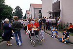 Friedland refugee camp West Germany. Polish refuges 1980's arrive having escaped from eastern Europe.