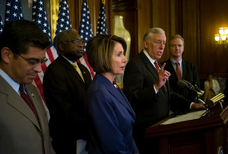 "WASHINGTON, DC - July 31: Democratic Caucus Vice Chairman Xavier Becerra, D-Calif., House Majority Whip James E. Clyburn, D-S.C., House Speaker Nancy Pelosi, D-Calif., House Majority Leader Steny H. Hoyer, D-Md., and DCCC Chairman Chris Van Hollen, D-Md., during a news conference before the August recounting their ""legislative accomplishments."" (Photo by Scott J. Ferrell/Congressional Quarterly)"