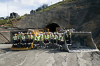 Miners with loaders at entrance to the Waihi Gold Mine.