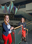 Undergraduate  student Mica Smith (Left) with her advisor, Holly Raffle, Associate Professor at Ohio University's Voinovich School of Leadership and Public Affairs. Smith and Raffle are working on a program evaluation of a STEM program. Photo by Ben Siegel