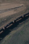 An oil transport train sits at a depot in Stanley, North Dakota, a small town in the Bakken formation in western North Dakota.