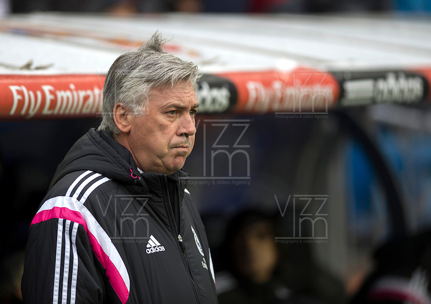 MADRID - ESPAÑA - 31-01-2015: Carlo Anccelotti, tecnico de Real Madrid durante partido de La Liga de BBVA de España 2015, Real Madrid  y La Real Sociedad en el estadio Santiago Bernabeu de la ciudad de Madrid / Carlo Anccelotti,  coach of Real Madrid during a match between Real Madrid and La Real Sociedad for the La Liga de BBVA de España 2015 in the Santiago Bernabeu stadium in Madrid, Spain  Photo: Asnerp / Patricio Realpe / VizzorImage.